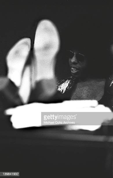 Sly Stone of the psychedelic soul group 'Sly And The Family Stone' records during a session on April 3 1973 in San Francisco California
