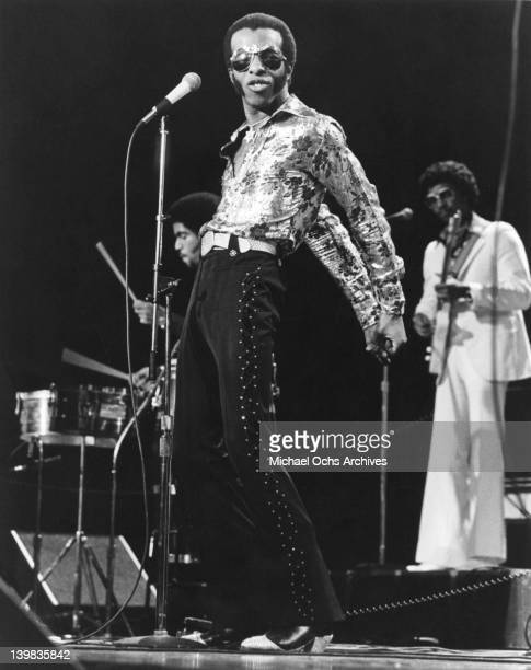 Sly Stone of the psychedelic soul group 'Sly And The Family Stone' performs on the TV show 'The Midnight Special' on December 17 1976 in Burbank...