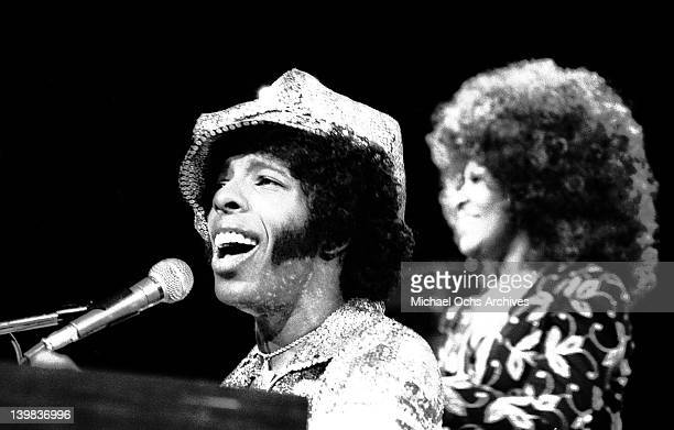Sly Stone of the psychedelic soul group 'Sly And The Family Stone' performs on the TV show 'The Midnight Special'in 1971 in Burbank California
