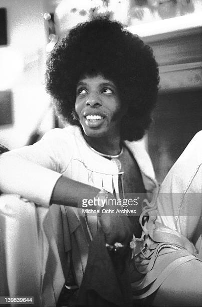 Sly Stone of the psychedelic soul group 'Sly The Family Stone' poses for a portrait sesion at home on September 17 1972