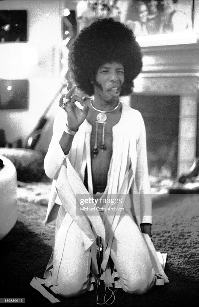 Sly Stone of the psychedelic soul group 'Sly & The Family Stone' poses for a portrait sesion at home on September 17, 1972.