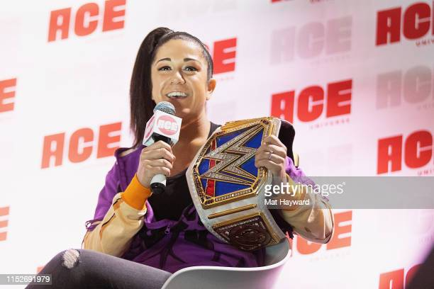 SmackDown Champion Bayley speaks onstage during ACE Comic Con at Century Link Field Event Center on June 28, 2019 in Seattle, Washington.