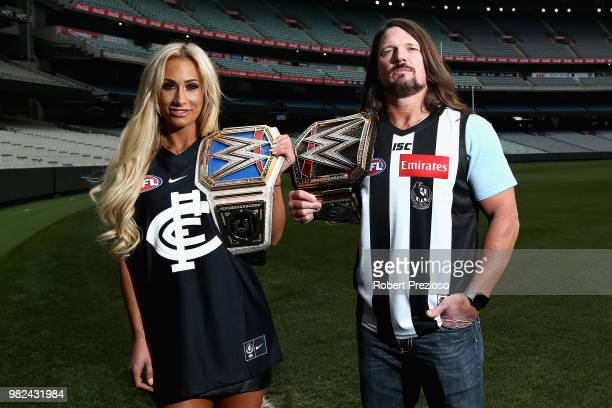 S world champion AJ Styles and Smackdown women's champion Carmella speak at the Melbourne Cricket Ground on June 24 2018 in Melbourne Australia