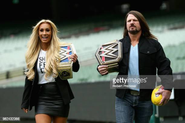 Smackdown women's champion Carmella and WWE'S world champion AJ Styles arrive ahead of a media opportunity at the Melbourne Cricket Ground on June...