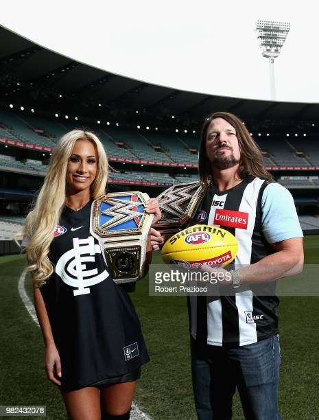 Smackdown women's champion Carmella and WWE'S world champion AJ Styles pose for photos at the Melbourne Cricket Ground on June 24 2018 in Melbourne...