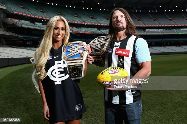 Smackdown women's champion Carmella and WWE'S world champion AJ Styles pose for photos at the Melbourne Cricket Ground on June 24, 2018 in Melbourne,...