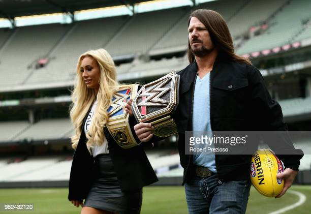 Smackdown women's champion Carmella and WWE'S world champion AJ Styles arrive ahead of a media opportunity at the Melbourne Cricket Ground on June 24...
