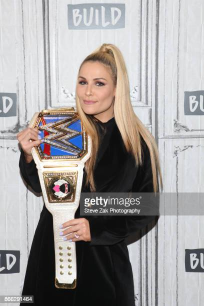 Smackdown Womens Champion Natalya attends Build Series to discuss 'Total Divas' at Build Studio on October 25 2017 in New York City