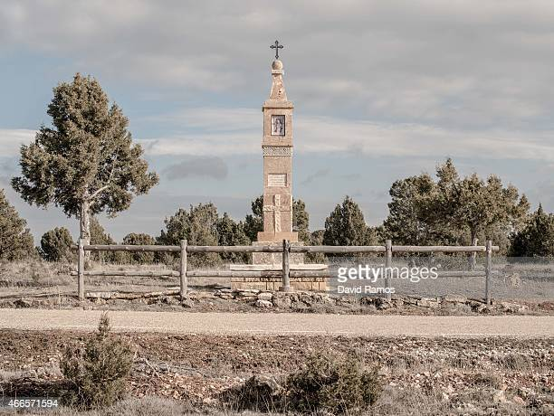 A smal chapel is seen next to the a road outside the village of Codes on February 14 2015 near Molina de Aragon Spain The process of...