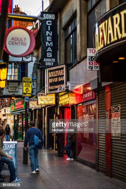 Small alley lined with adult entertainment stores in SoHo London