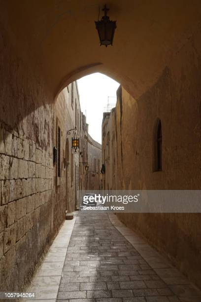 Small alley with car at dusk, Mdina, Malta