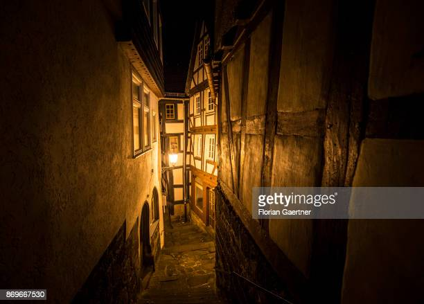 A small alleyway in the oldtown is pictured in the evening on October 28 2017 in Marburg Germany