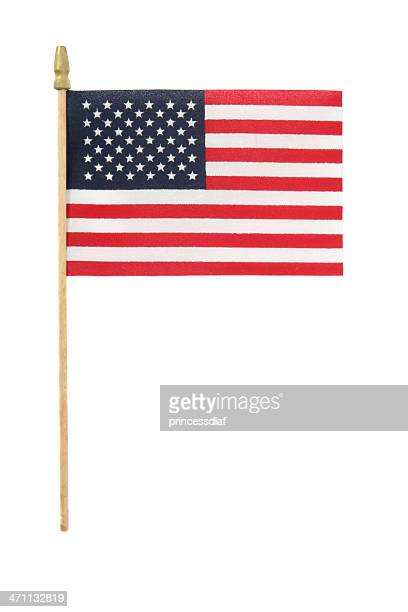 small american flag on plastic stick on white background - small stock pictures, royalty-free photos & images