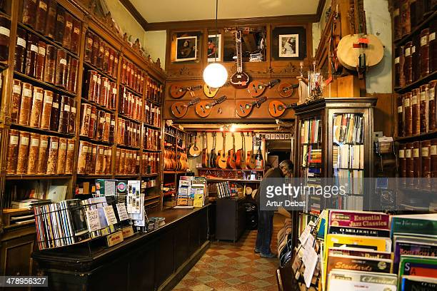 Small and ancient store of music in the center of Barcelona