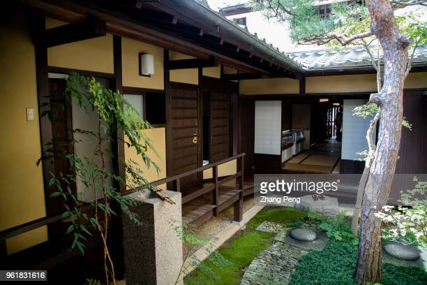 Small and beautiful patio garden in the mid of the house also known as 'machiya' is the landmark building and tourist attraction of Nara old street...