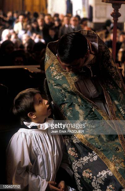 Small And Big In France In 1987 The surplice and vestments are a beautiful church of Chamblaca Country Priest Father Quintin Montgomery Wright...