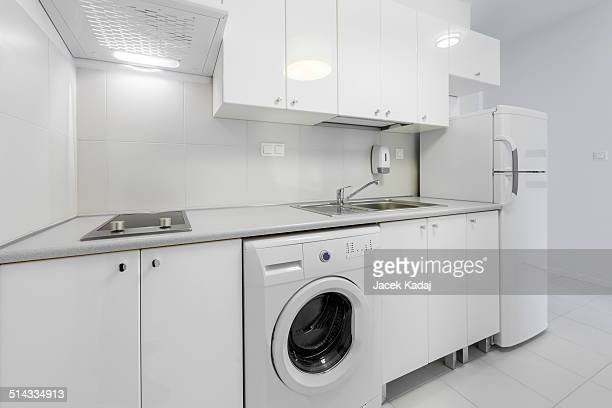 small and compact kitchen interior design - white goods stock pictures, royalty-free photos & images
