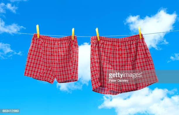 small and obese boxer shorts on washing line - shorts stock pictures, royalty-free photos & images