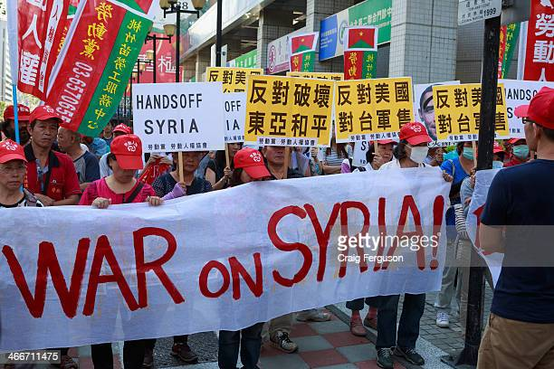 Small antiwar protest outside America's de facto embassy calling for Hands off Syria