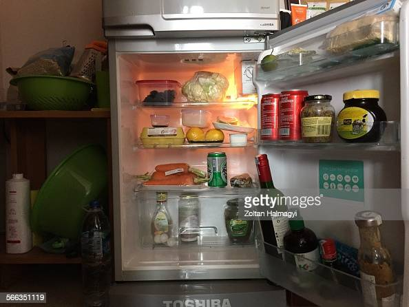 Small apartment cluttered fridge News Photo - Getty Images
