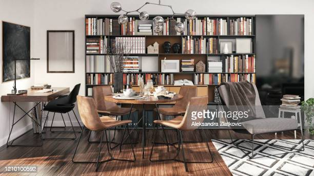 small apartment interior design - bookshelf stock pictures, royalty-free photos & images