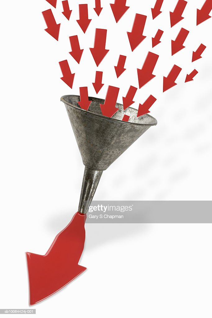 Small arrows entering funnel and exiting as one arrow (Digital Composite) : Stock Photo