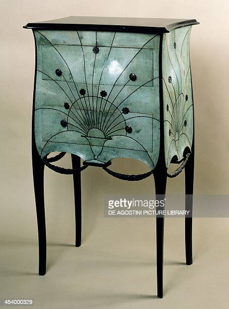Small Art Deco style chest of drawers by Paul Iribe mahogany and shagreen black marble top France 20th century Paris Musée Des Arts Decoratifs