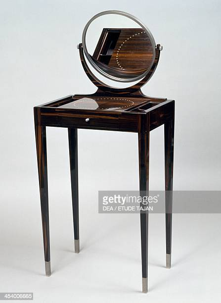 Small Art Deco style dressing table Morel model ca 19211922 stamped by JacquesEmile Ruhlmann Macassar ebony France 20th century