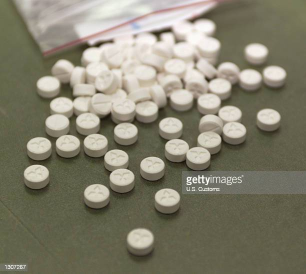 A small bag of the drug Ecstasy is displayed July 26 2000 at the US Customs House in Los Angeles as part of 21 million tablets of the drug seized by...