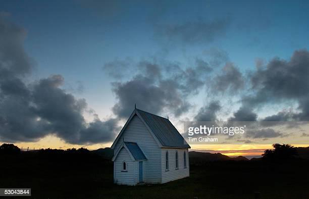 Small Baptist chapel in a meadow near Pollok, North Island, New Zealand.