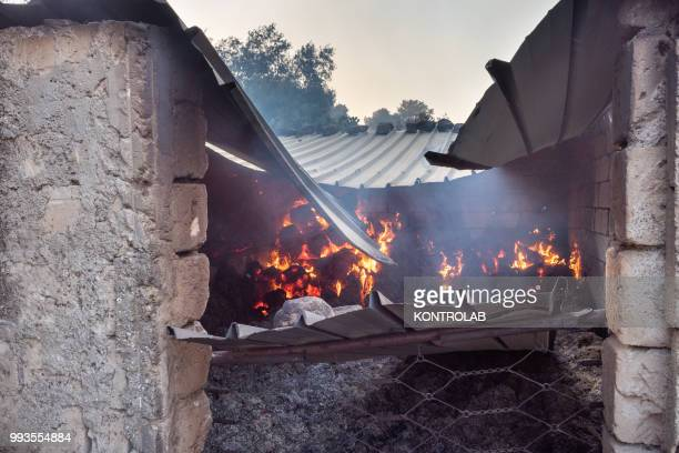POLLINO VILLAPIANA CALABRIA ITALY A small barn destroyed during a huge fire that destroyed a vast area of woods pine forests and Mediterranean...