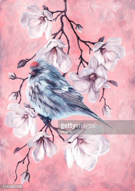 small bird on the branch of magnolia flowers fine art. digital illustration imitating oil painting on canvas - japanese art stock pictures, royalty-free photos & images