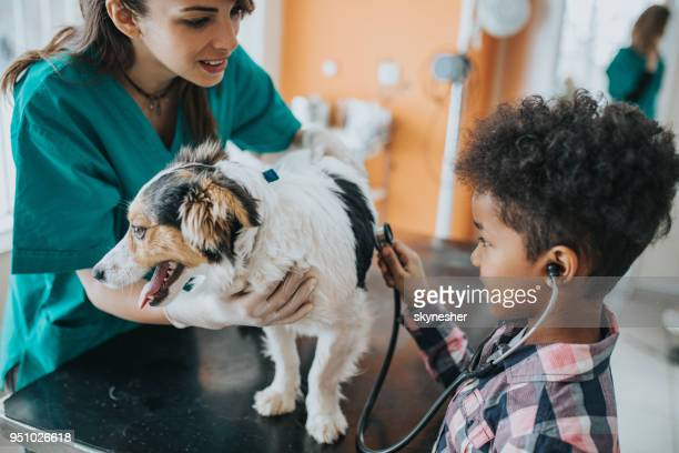 small black girl listening to her dog's heartbeat at vet's office. - animal hospital stock pictures, royalty-free photos & images