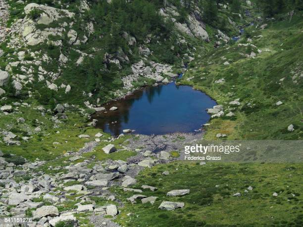 Small Blue Alpine Lakelet in the Swiss Alps