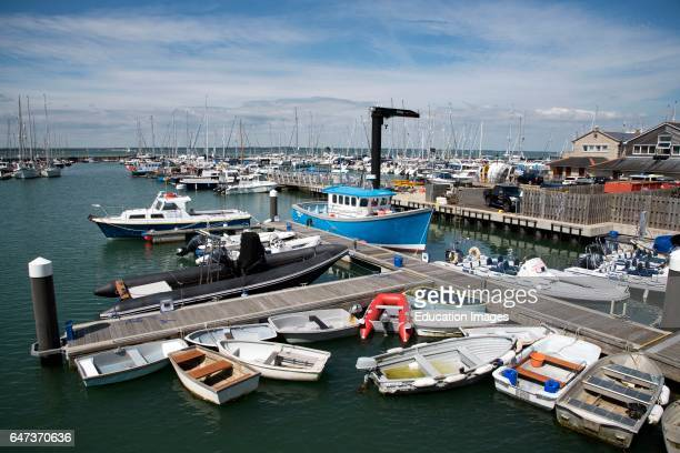 Small boat area of Yarmouth Harbor on the Isle of Wight southern England UK.