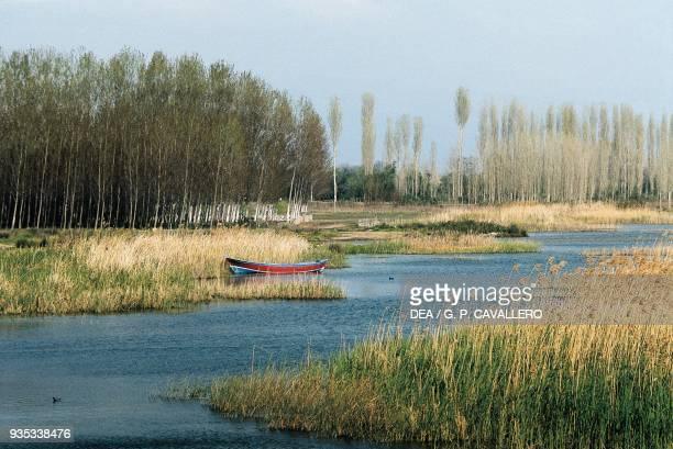 A small boat in a cane thicket Iznik lake Marmara Turkey