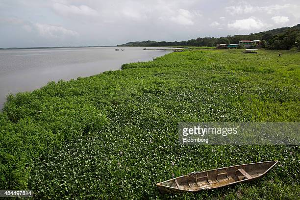 A small boat sits near the shore of Lake Nicaragua in the village of San Miguelito Nicaragua on Sunday July 12 2015 This area on the shore of Lake...
