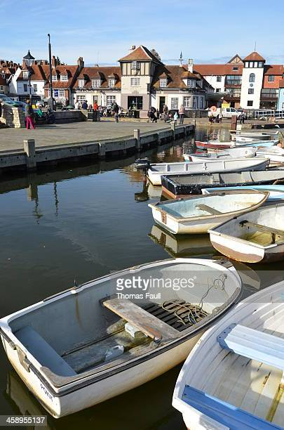small boats in lymington - lymington stock photos and pictures