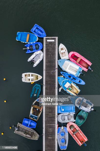 small boats moored at a pier shot from directly above, france - moored stock pictures, royalty-free photos & images