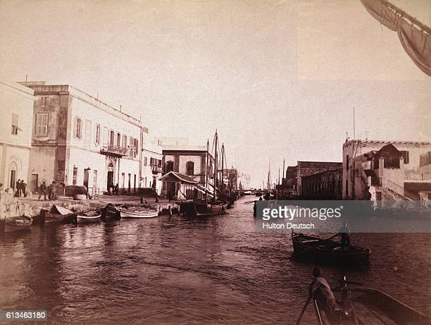Small boats on part of the sevenmilelong canal which links the town of La Goulette with Tunis
