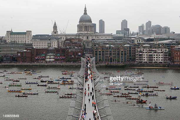 Small boats participate in the Diamond Jubilee River Pageant on June 3 2012 in London England For only the second time in its history the UK...