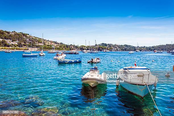 small boats villefranche-sur-mer, france - saint jean cap ferrat stock pictures, royalty-free photos & images