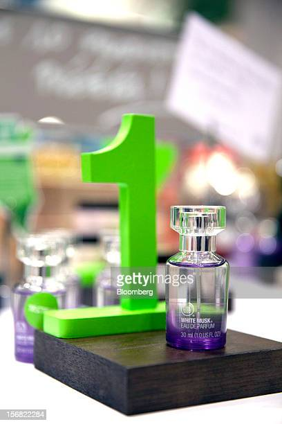 A small bottle of Body Shop White Musk Eau de Parfum is seen on display at a store in Paris France on Wednesday Nov 21 2012 Body Shop International...