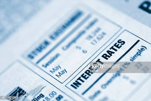 small box in a newspaper containing interest rates info - interest rate stock pictures, royalty-free photos & images
