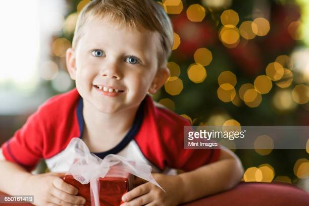 A small boy by a Christmas tree, holding a present.