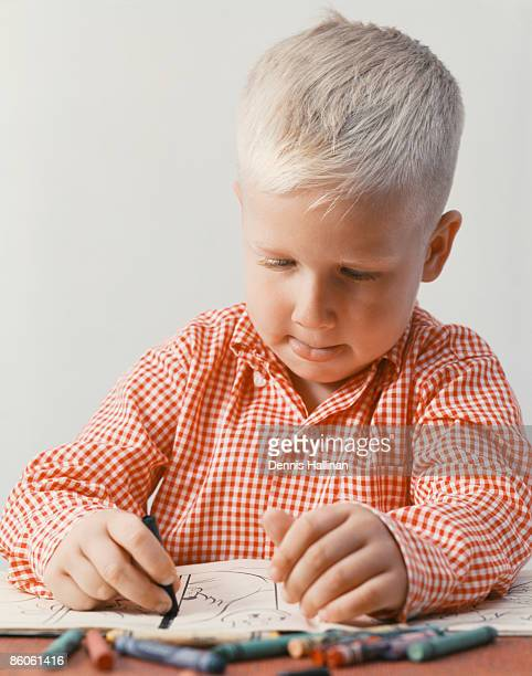 small boy drawing with crayons - colouring book stock pictures, royalty-free photos & images