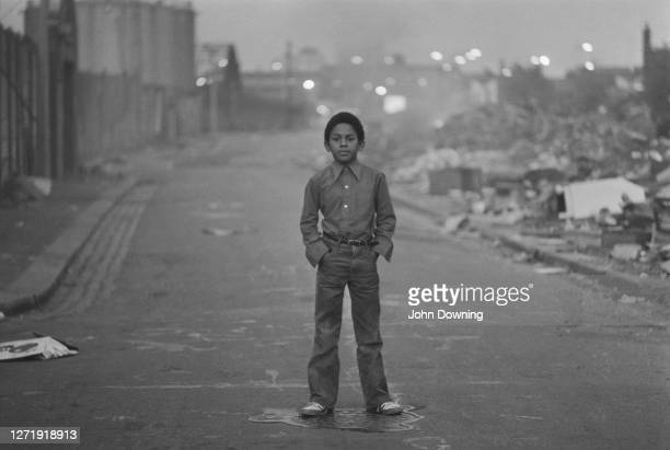 A small boy on the streets of Wandsworth south London 24th February 1973