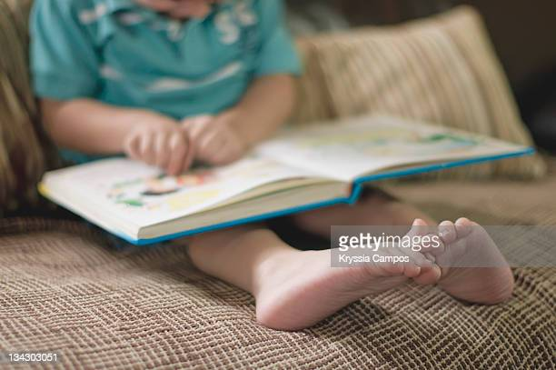 Small boy reading story book