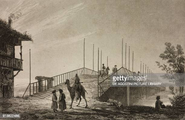 Small Bridge Istanbul Turkey engraving by Lemaitre Vormser and Lepetit from Turquie by Joseph Marie Jouannin and Jules Van Gaver L'Univers...