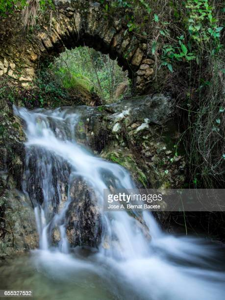 Small bridge of medieval architecture constructed in the nature, on a small ravine for which a river of mountain happens